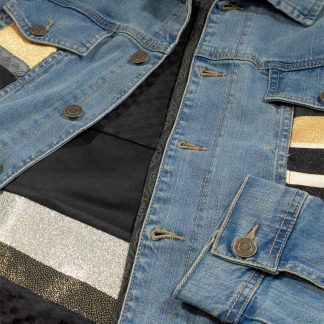 "Custom Denim Jacket - ""Black Wall"""