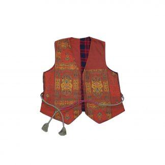 """Reversible Waistcoat Vest with Obi String - """"Dark Kaki"""""""