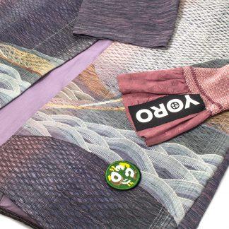 "Kimono Style Coat with Obi Belt - ""Purple Wave"""