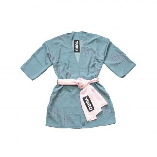 """Sheer Haori Top with Pink Belt - """"Turquoise Pond"""""""