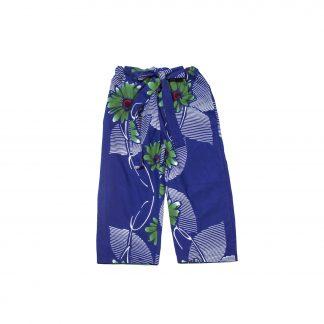 "Casual Cotton Drawstring 3/4 Pants - ""Blue Hana-bi"""