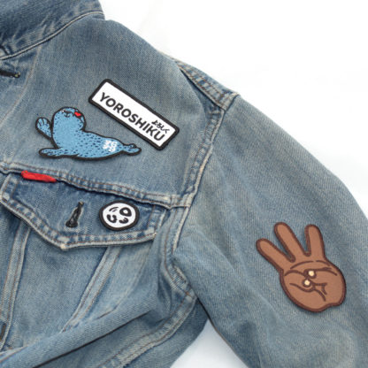 Hip Hop Embroidery Patches: iii (Hand Sign) - on denim