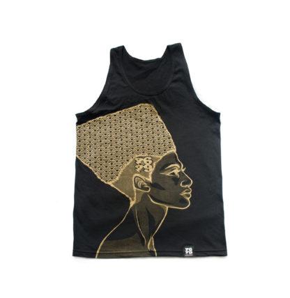 Egyptian Queen: Cartoon Jumbo Print Vest (Black & Gold)