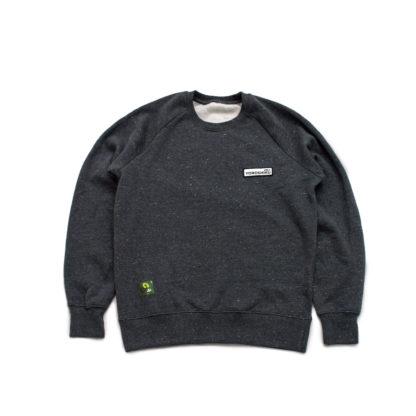 Organic Speckled Black Sweatshirt Jumper (Panda Crest) - front
