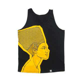 Egyptian Queen: Cartoon Jumbo Print Vest (Black & Gold)