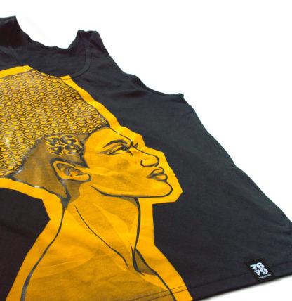 Egyptian Queen: Cartoon Jumbo Print Vest (Black & Gold) - details
