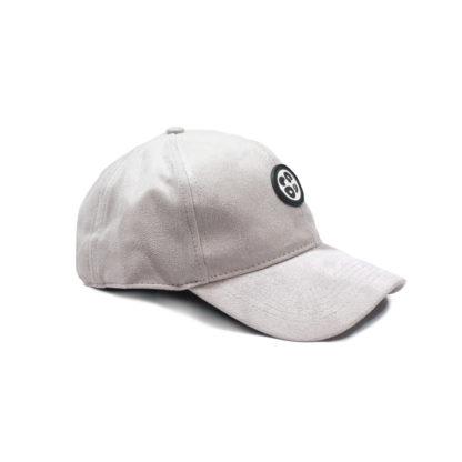 Vegan Suede Logo Cap (Light Grey) - side
