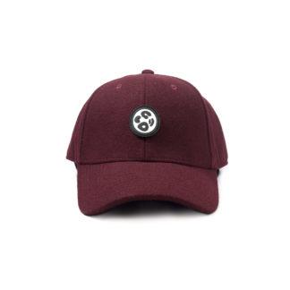 Melton Wool Strapback Logo Cap (Burgundy) - front