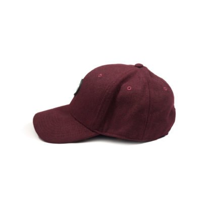 Melton Wool Strapback Logo Cap (Burgundy) - side