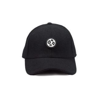 Melton Wool Strapback Logo Cap (Black) - front