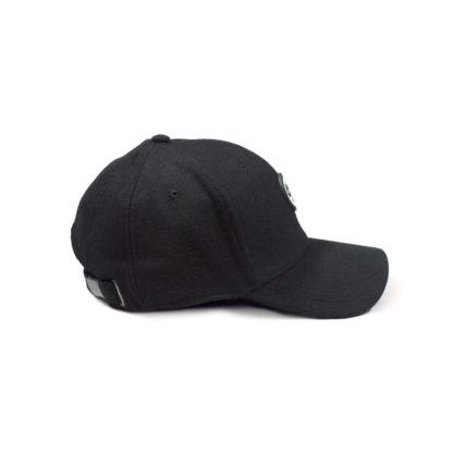 Melton Wool Strapback Logo Cap (Black) - side
