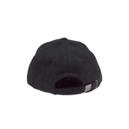 Melton Wool Strapback Logo Cap (Black) - back