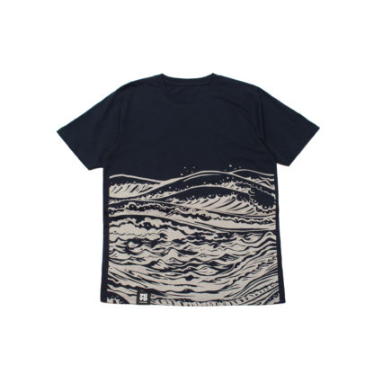 Mother Sea: Japanese Graphic Navy Tee - front