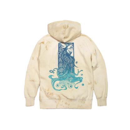 Drowned Girl: Pullover Pale Beige Cartoon Hoodie (Coral) - back
