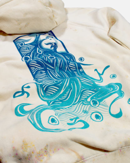 Drowned Girl: Pullover Pale Beige Cartoon Hoodie (Coral) - backprint
