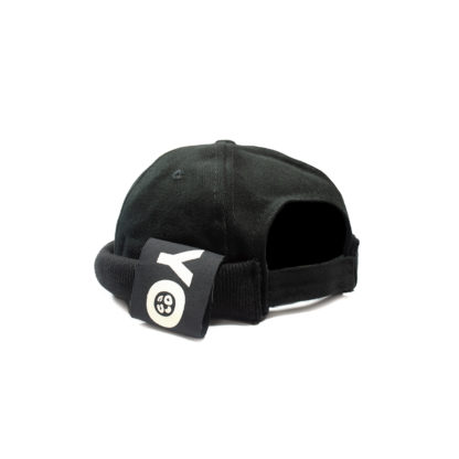 Cotton Docker Cap (Black) - angle