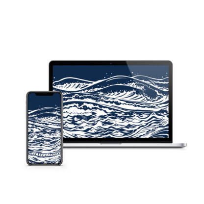 Mother Sea: Digital Wallpaper - Navy