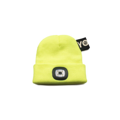 Neon Yellow Knit Beanie with Headlight - front