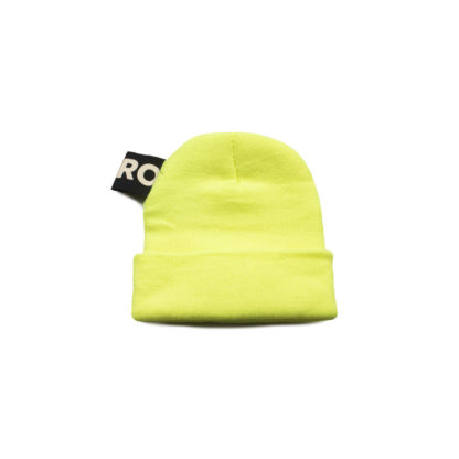 Neon Yellow Knit Beanie with Headlight - back