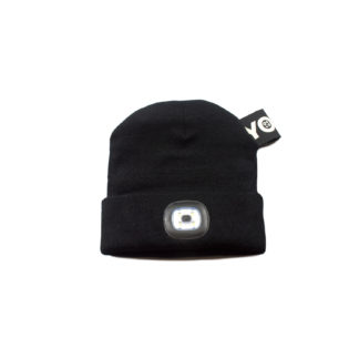 Black Knit Beanie with Headlight - front