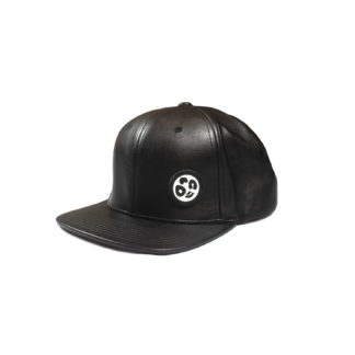 Vegan Leather Strapback Logo Cap (Black) - side