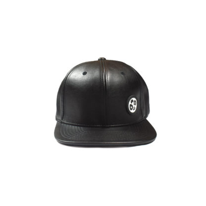Vegan Leather Strapback Logo Cap (Black) - front