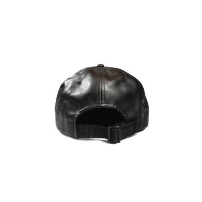 Vegan Leather Strapback Logo Cap (Black) - back