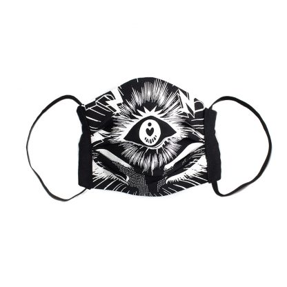 Manga Face Mask - iii (Third Eye) in Black
